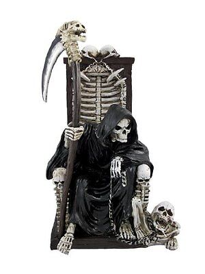 Grim Reaper on Throne with Undead Skeleton Pet Statue, New, Free Shipping
