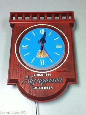 Narragansett lager beer sign lighted wall clock vintage bar light nautical