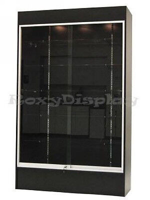 Wall Black Display Show Case Retail Store Fixture With Lights Knocked Down Wc4b
