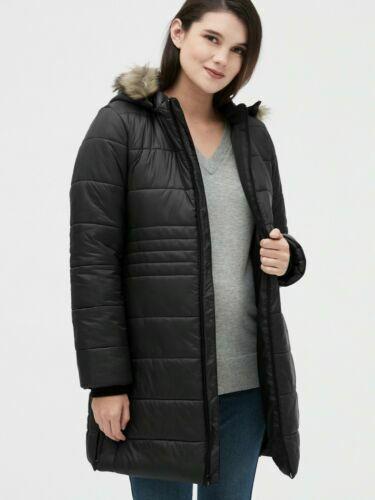 NEW Gap Maternity ColdControl Puffer Coat with Detachable Hood,BLACK MEDIUM