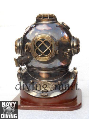 "Solid Brass Copper 18"" Heavy Grade Divers Helmet Vintage Diving Helm with Base"
