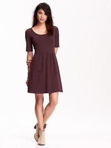 NWT Old Navy burgundy maroon jersey knit A-line dress 3/4 sleeve