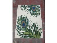 CHEZ-TOI - PEACOCK RUG - IVORY - 120 x 170 cm - 100% WOOL - ONLY £30