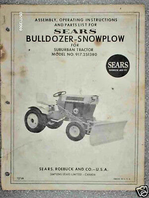917.251380 Sears Tractor- Bull Dozer-snow Blade Owners Manual On Cd