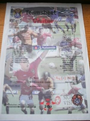26/07/1997 Colour Teamsheet: Morecambe v Wolverhampton