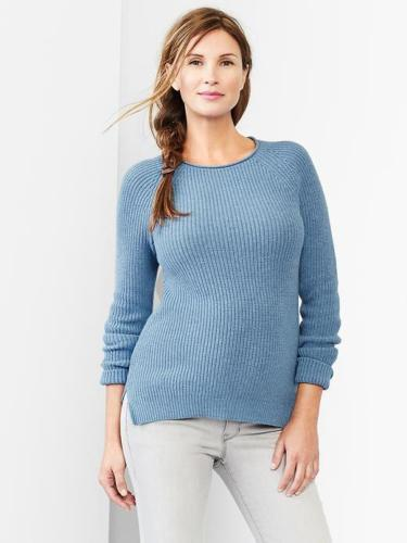 New Gap Maternity Sweater XS Womens Ribbed Crew Winter Pullover Blue MSRP $49.95