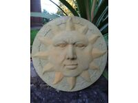 Warming Garden Feature Vintage English Stone Sun Face Home Wall Plaque Sign