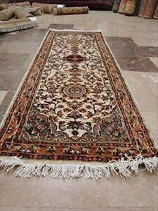 Love Ivory Floral Medallion Hand Knotted Runner Rug Wool Silk Carpet (6 x 2)'