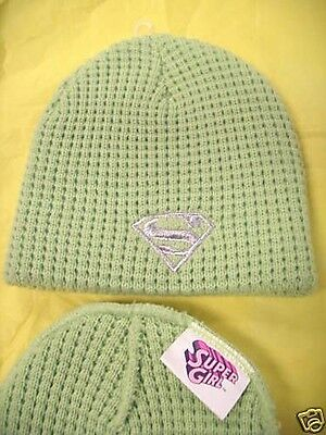 Supergirl Lime Green Winter Knit Toque Beanie Hat Cap by TM & DC Comics NWOT