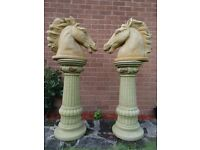 Pair Large French Garden Golden Stone Horse Head Hotel Pub Statues Tall Plinths