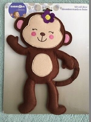 Girl Monkey Felt Wall Hanging - New, Nursery / Playroom / Kids