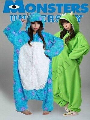 New Adult Monsters University Mike Wazowski&Sulley Costume Cosplay Pajama Pyjama (Monsters University Costume)