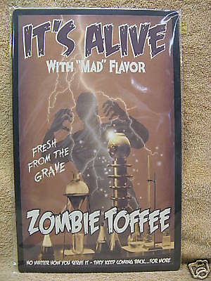 It's Alive Zombie Toffee HALLOWEEN Scary Tin Metal Sign - It's Halloween Sign