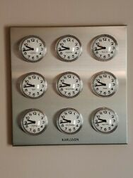 Bubble Clock Karlsson Stainless World Time Zone Stock Market-Mcm Vintage Style