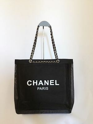 NEW CHANEL VIP Mesh Black w/ Silver Chain Tote Beach Travel Hand Bag Authentic