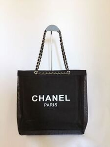 Details About New Chanel Vip Mesh Black W Silver Chain Tote Beach Travel Hand Bag Authentic
