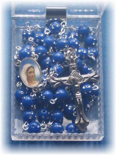 Vintage Blue Rosary Beads Ebay