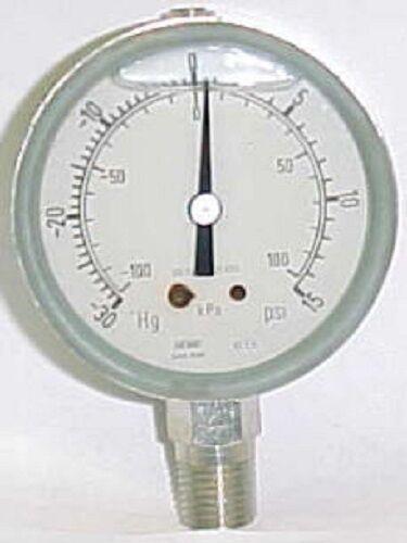 """Haenni -30 To 15 Psi 2-1/2"""" Ss Dial Liquid Vacuum / Pressure Gauge Dro63-411-211"""