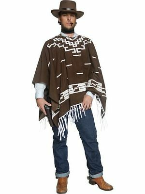 Men's Brown Authentic Fancy Dress Western Gunslinger Cowboy Poncho Stag Theme (Western Themen Fancy Dress Kostüm)