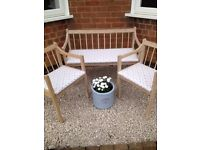 Stunning WOODEN BENCH & 2 X CHAIRS Cath Kidston Fabric Indoor Outdoor Orangerie