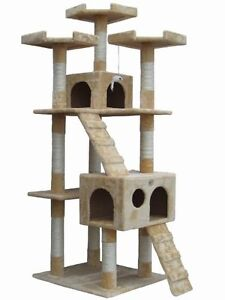 Pet-Club-Tall-Beige-Cat-Tree-Furniture-Toy-Bird-House-Condo-Bed-Litter-Treat