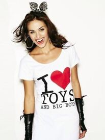 ANN SUMMERS 'I LOVE TOYS & BIG BOYS' NIGHTSHIRT CHEMISE TOP SIZE 22-24