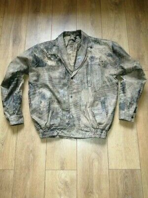 mens vintage 80s 90s grunge faux distressed leather jacket size large