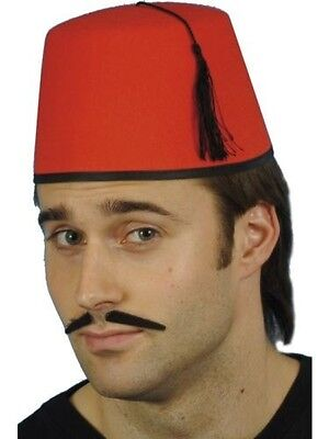 Men's Red Fez  Fancy Dress Hat Turkish Moroccan Magic Tommy Cooper Stag Theme (Fez Fancy Dress Kostüm)