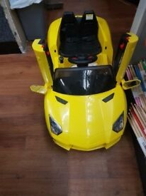Toddler Ride On Electric Car - Lamborghini Yellow AVENTADOR SPYDER BBH-1188 12V Childrens Sports Car