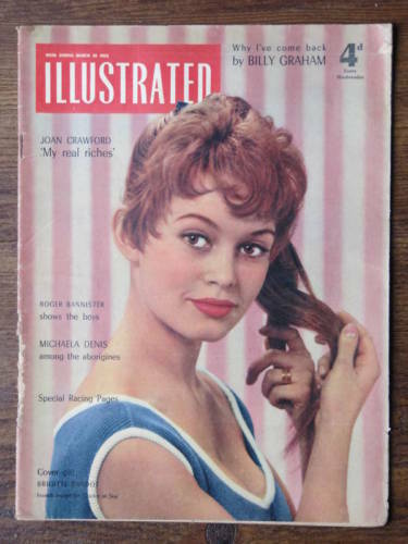 BRIGITTE BARDOT on Cover of 1955 Illustrated Magazine.