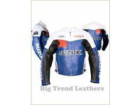 Suzuki Mens Motorbike Jacket - High Quality Heavy Duty Cowhide Leather - NEW