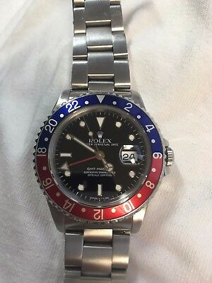 """ROLEX GMT MASTER 40MM 16760 STAINLESS STEEL RED/BLUE """"PEPSI"""" BLACK DIAL"""