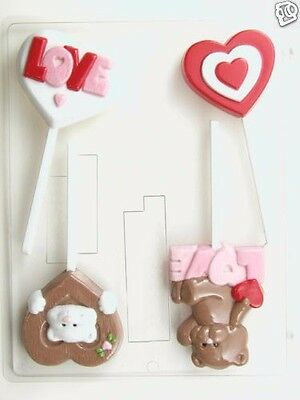VALENTINE ASSORTMENT LOLLIPOP CLEAR PLASTIC CHOCOLATE CANDY MOLD V196