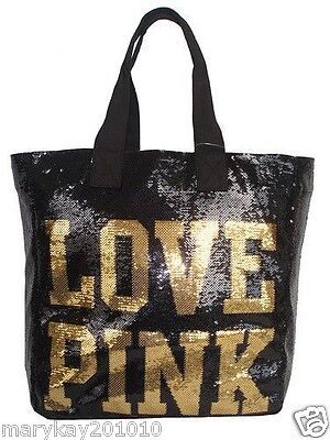RARE! VICTORIA'S SECRET PINK SEQUINS BLING LARGE BEACH TOTE SCHOOL GYM BAG