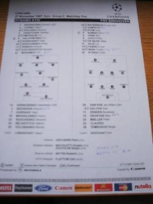 27/11/1997 Colour Teamsheet: Dynamo Kiev v PSV Eindhove