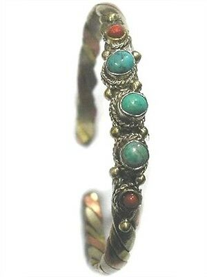 Tibetan 5 Genuine Turquoise Red Coral Gemstone 3-Color Copper Cuff Bracelet