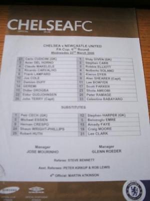 22/03/2006 Colour Teamsheet: Chelsea v Newcastle United