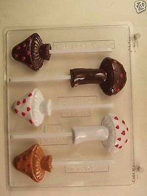MUSHROOMS HEARTS CLEAR PLASTIC CHOCOLATE CANDY MOLD V238 Clear Plastic Mold