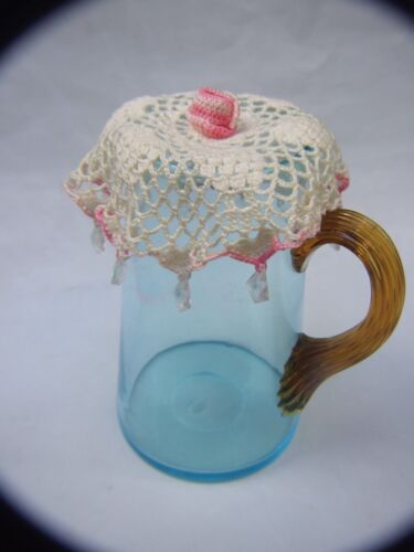 Antique Blue Water Milk  Glass Jug w Amber Glass Handle w Doilies 1900