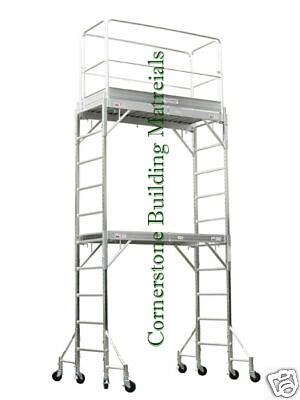(Aluminum Scaffold Rolling Tower 12' H Guard Rail U Lock with plywood deck)