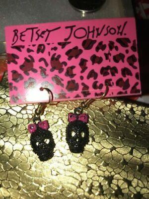 ~ Betsey Johnson Rhinestone Black Skull Pink Bow earrings & Free gift