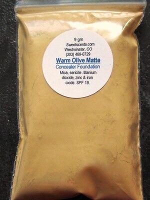 Organic Mineral Loose Foundation Powder - MINERAL MAKEUP~1oz~SWEETSCENT~FOUNDATION~BARE~LOOSE POWDER~MICA~WARM OLIVE MATTE