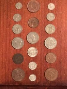 Predecimal coins from Australia, New Zealand and Great Britain.
