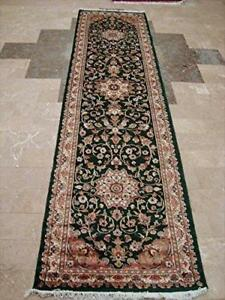 Royal Dark Green Floral Oriental Hand Knotted Wool Silk Carpet Runner Rug (10.1 x 2.7)'