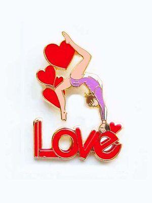 Love Gymnastics Lapel Pin CREATIVE CUTOUT DESIGN