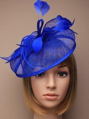 Royal Blue Headband Aliceband Hat Fascinator Weddings Ladies Race Royal Ascot