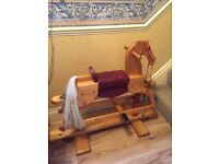 Wooden Rocking Horse Hand Crafted Beautiful Item - Nice Gift