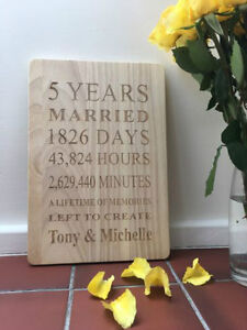 Engraved Wooden 5 Years Plaque - Personalised - Anniversary Gift