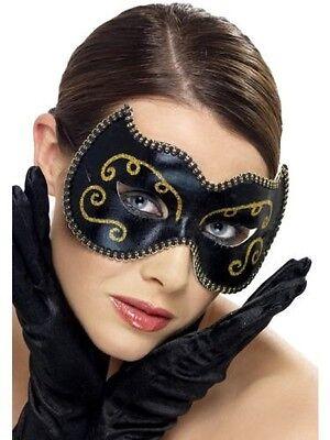 Womens Girls Ladies Black & Gold Persian Eye Mask Sexy Cat Masquerade Halloween - Persian Halloween Costumes