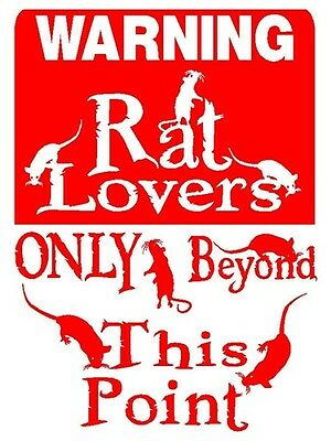 RAT Lover Alum Sign Vinyl Decal Mouse Cat Dog Pets D846